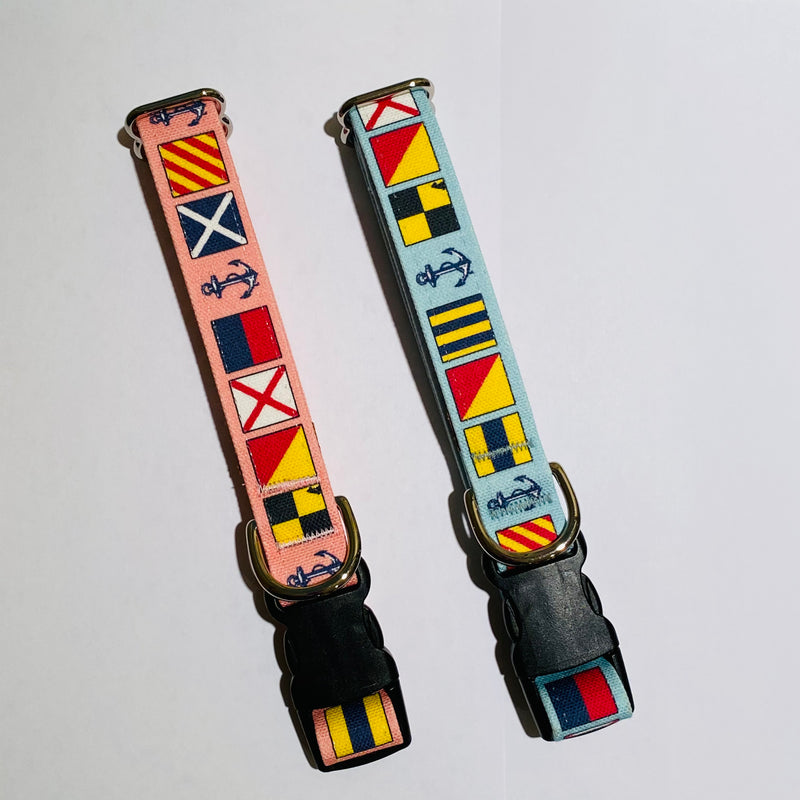"""Love My Dog"" Nautical Signal Flag Dog Collar - Caribbean Hues"