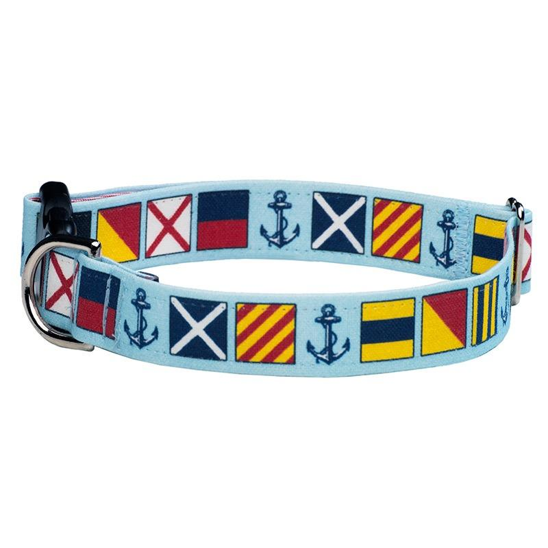 Our Good Dog Spot Love My Dog Nautical Signal Flag Dog Collar Blue