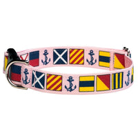 Our Good Dog Spot Love My Dog Nautical Signal Flag Dog Collar Pink