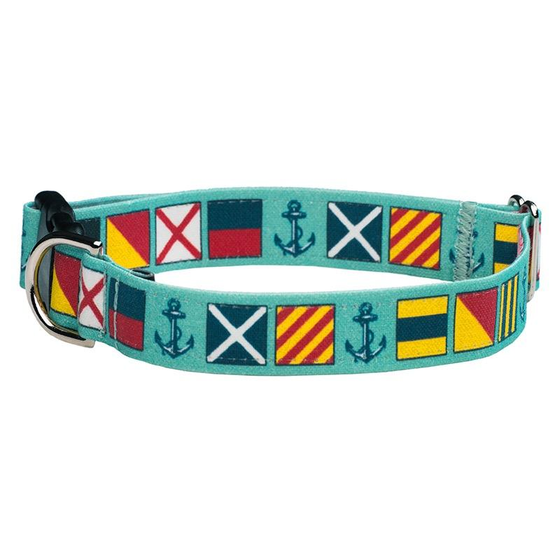 Our Good Dog Spot Love My Dog Nautical Signal Flag Dog Collar Sea Foam