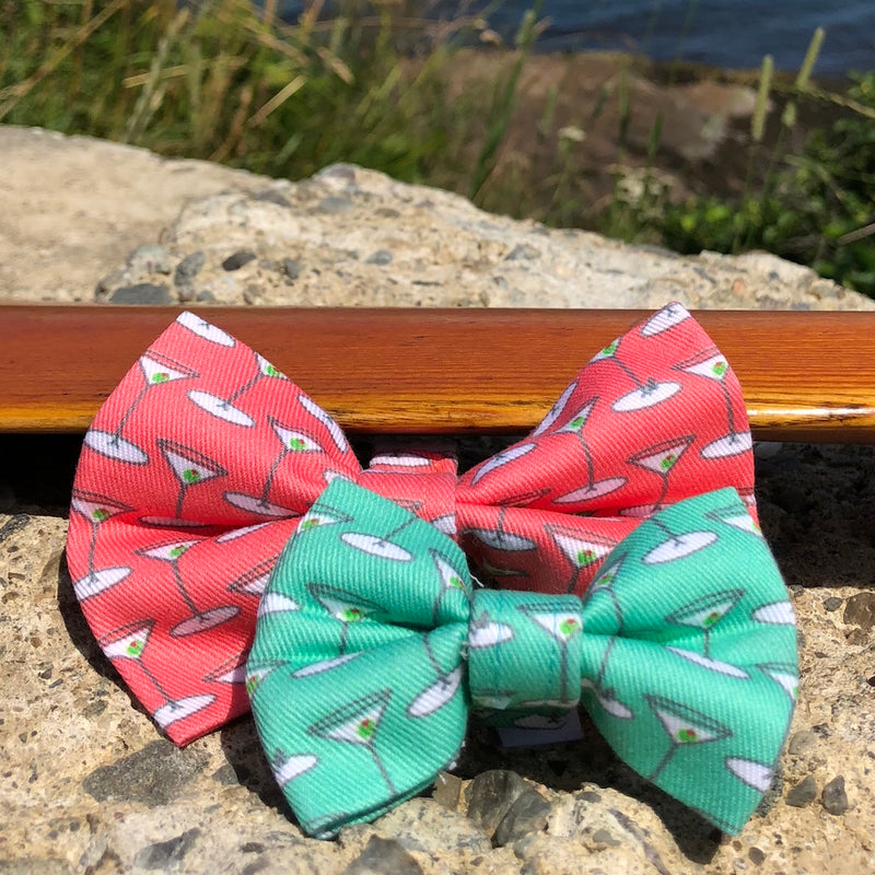 Our Good Dog Spot Coral and Mint Green Martini Bowties