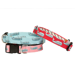 Our Good Dog Spot Nantucket Whale Dog Collar stack of red teal and pink