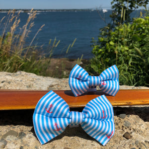 Our Good Dog Spot Caribbean Blue Oxford Stripe Anchor Bowtie