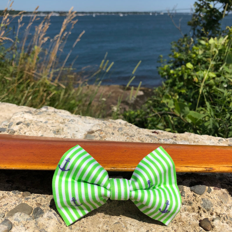 Our Good Dog Spot Preppy Green Oxford Stripe Anchor Bow Tie