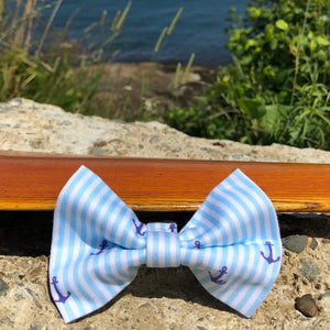 Our Good Dog Spot Crystal Blue Oxford Stripe Anchor Bowtie