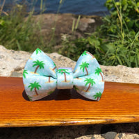 Our Good Dog Spot Palm Tree Polka Dot Bow Tie Coconut Blue