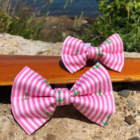 Our Good Dog Spot Preppy Pink Oxford Stripe Anchor Bowtie