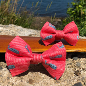 Our Good Dog Spot Nantucket Whale 23 Red Bow Tie
