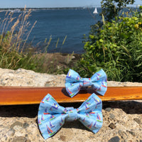 Our Good Dog Spot On The Wind Sailboat Bow Tie in Chesapeake Blue