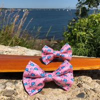 Our Good Dog Spot Sailfish Frenzy Bow Tie Florida Keys Pink