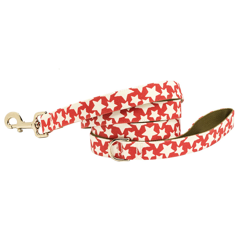 Stars Dog Lead Patriotic Red