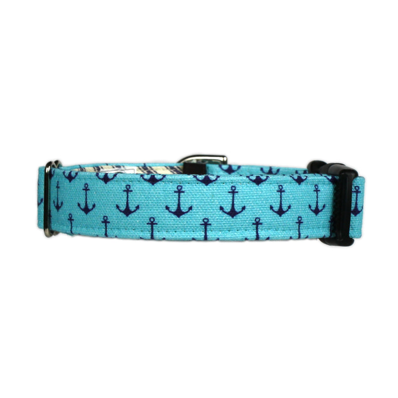 Anchors Aweigh Preppy Dog Collar - Vintage Blue