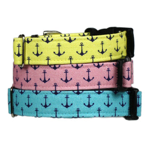 Anchors Aweigh Preppy Dog Collar - Polo Pink