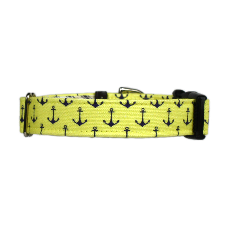 Anchors Aweigh Preppy Dog Collar - Yellow Fin