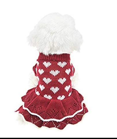Knitted Ruffled Heart Dress