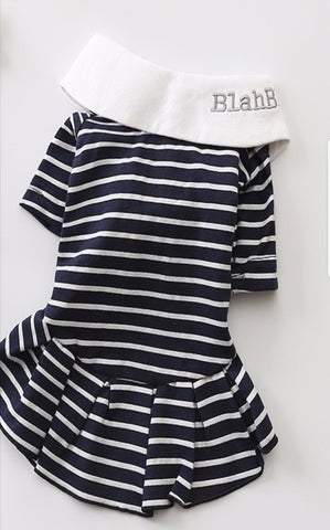 Striped with White collar Dress