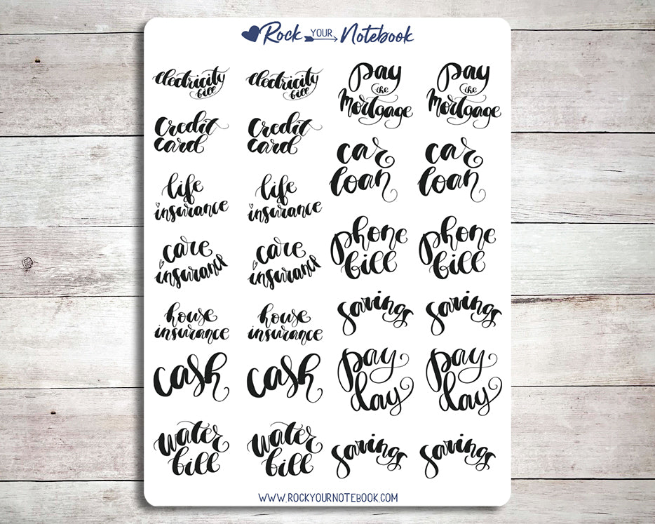 Pay The Bills Functional Word Stickers
