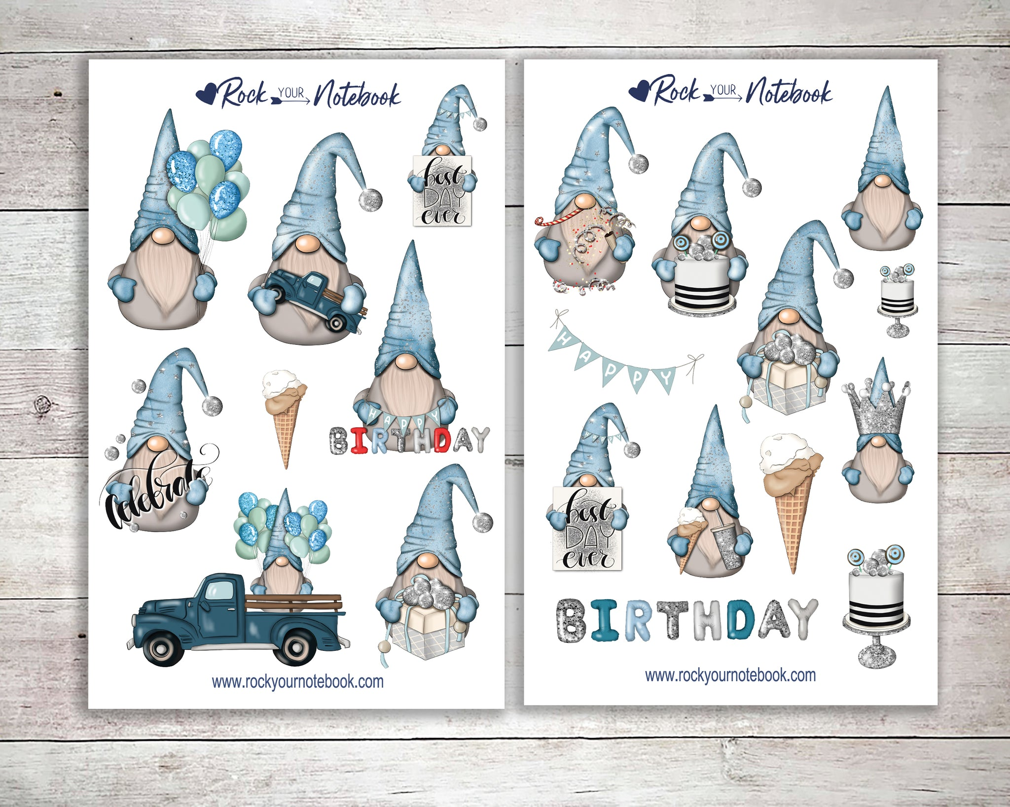 Blue Birthday Gnome Decorative Stickers