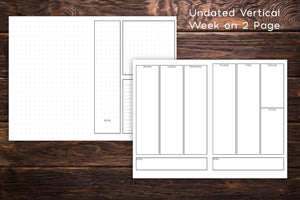 undated vertical week on 2 pages planner notebook