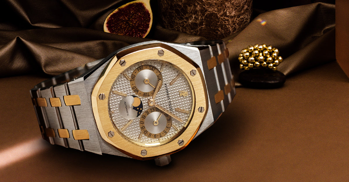 AUDEMARS PIGUET VINTAGE ROYAL OAK DAY-DATE MOON PHASE 18K YELLOW GOLD & STAINLESS STEEL