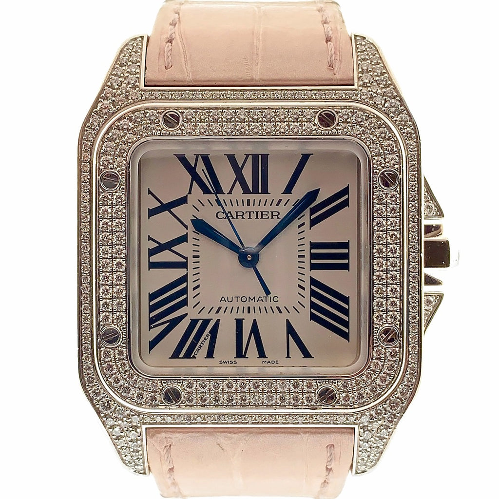 Cartier Santos 100 Large Midsize 18K Solid White Gold & Diamonds