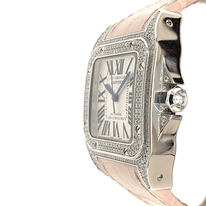 Cartier Santos 100 XL 18K White Gold & Diamonds