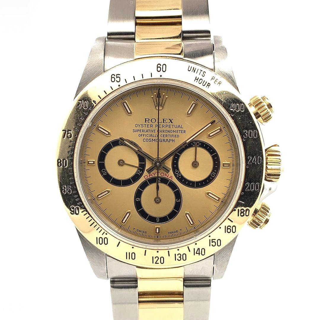 Rolex Zenith Cosmograph Daytona Champagne Dial 18K Yellow Gold \u0026 Stainless  Steel Ref. 16523