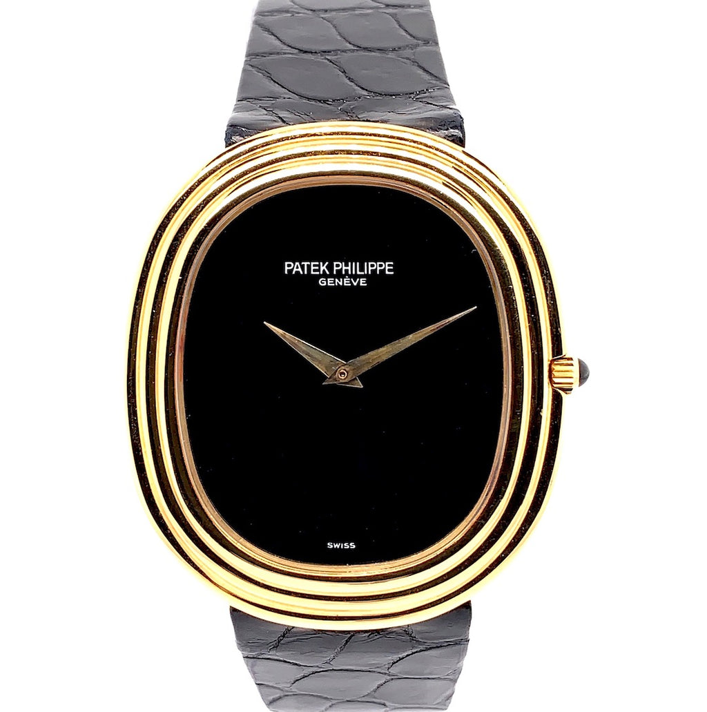 Patek Philippe Golden Ellipse 18K Yellow Gold Onyx Dial Ref. 3634J