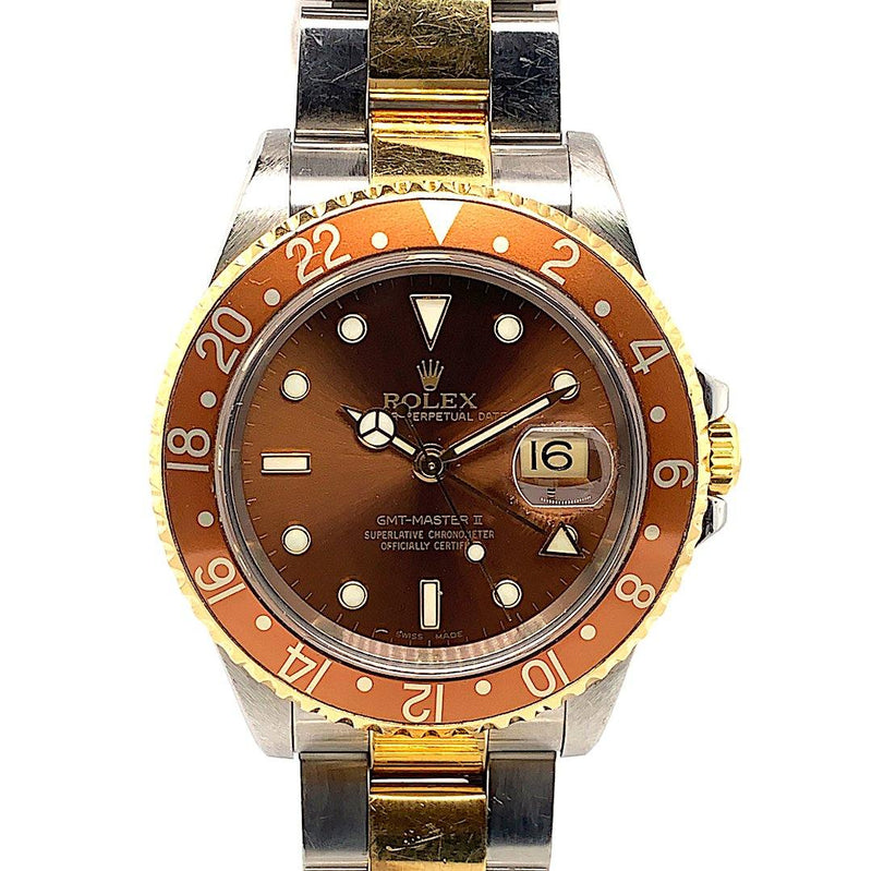 Rolex GMT-MASTER II Two Tone Root Beer Dial Oyster Bracelet Ref. 16713