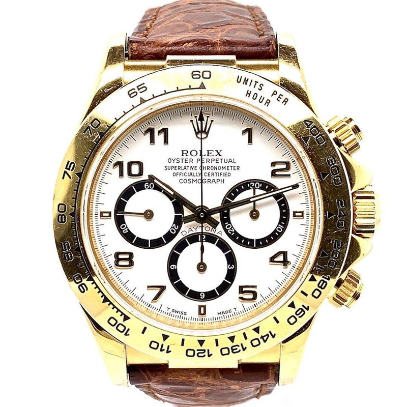 Rolex Oyster Perpetual Cosmograph Daytona Zenith Movement White With Arabic Numeral Dial 18K Yellow Gold Ref. 16518