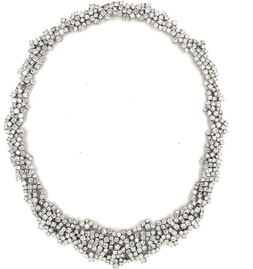 Tuxedo Princess-Cut Diamond & Platinum Choker Necklace 1950's