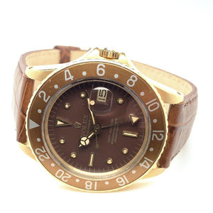 Rolex Vintage GMT-Master Root Beer Nipple Dial 18K Yellow Gold 1970's