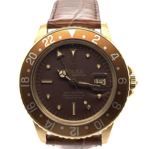 Rolex Vintage GMT-Master 1675 Root Beer Nipple Dial 18K Yellow Gold 1970's