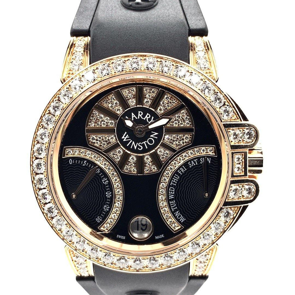 Harry Winston Ocean Biretrograde Automatic 18K Rose Gold & Diamonds