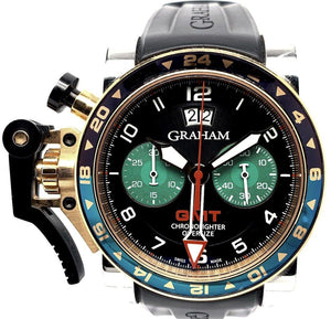 Graham Chronofighter Oversized GMT Chronograph 18K Rose Gold & Stainless Steel