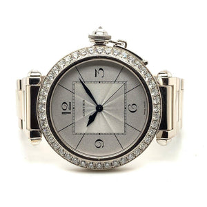 Cartier Pasha XL 18K White Gold & Diamonds