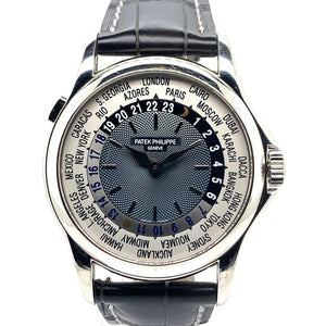 Patek Philippe World Time Platinum Blue Guilloché Dial Ref. 5110P-001