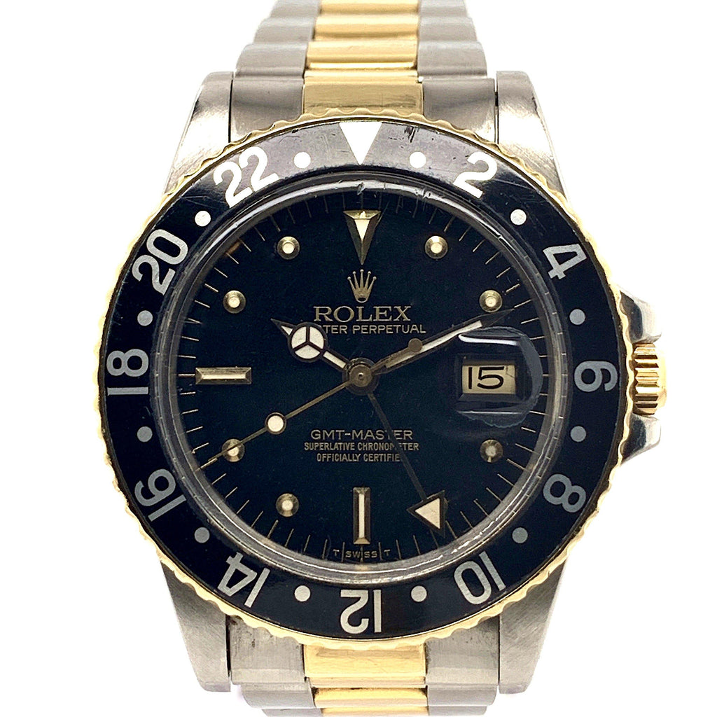 Rolex GMT Master 18K Yellow Gold & Stainless Steel Black Glossy Nipple Dial Ref. 16753