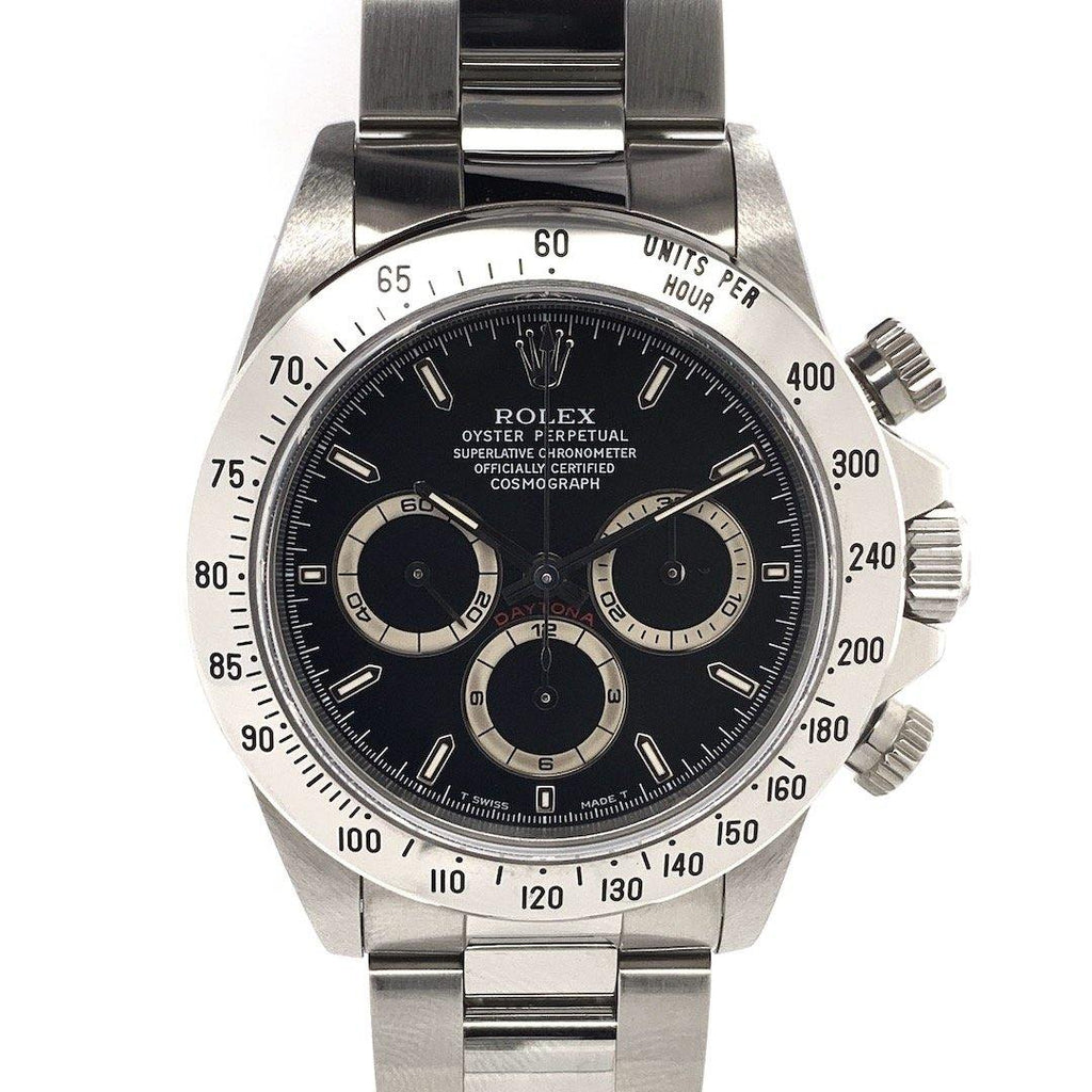 Rolex Oyster Perpetual Cosmograph Daytona Stainless Steel Zenith Movement Black Dial New Old Stock Full Set Ref. 16520