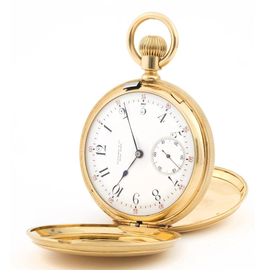 Antique Tiffany & Co. Pocket Watch Double Hunter Case Solid 18K Yellow Gold - Twain Time, Inc.