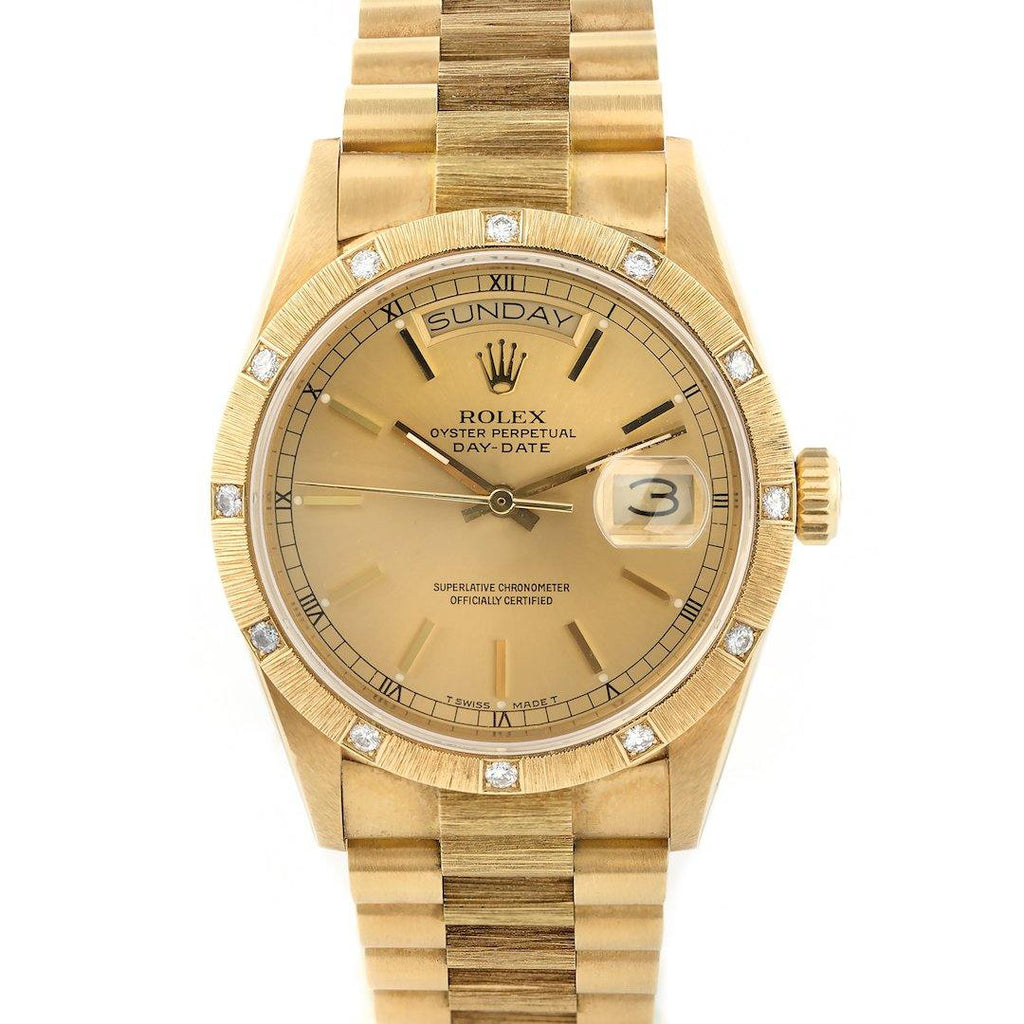 Rolex President Day-Date 18K Yellow Gold Bark Finish Diamond-Set Bezel - Twain Time, Inc.