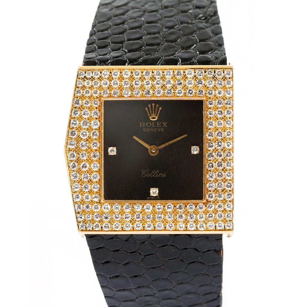 Rolex King Midas Cellini Vintage Left-Handed 18K Yellow Gold and Diamonds - Twain Time, Inc.