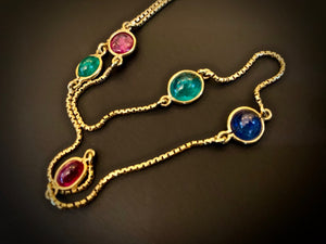 David Webb Multi-Gem And 18K Yellow Gold Necklace