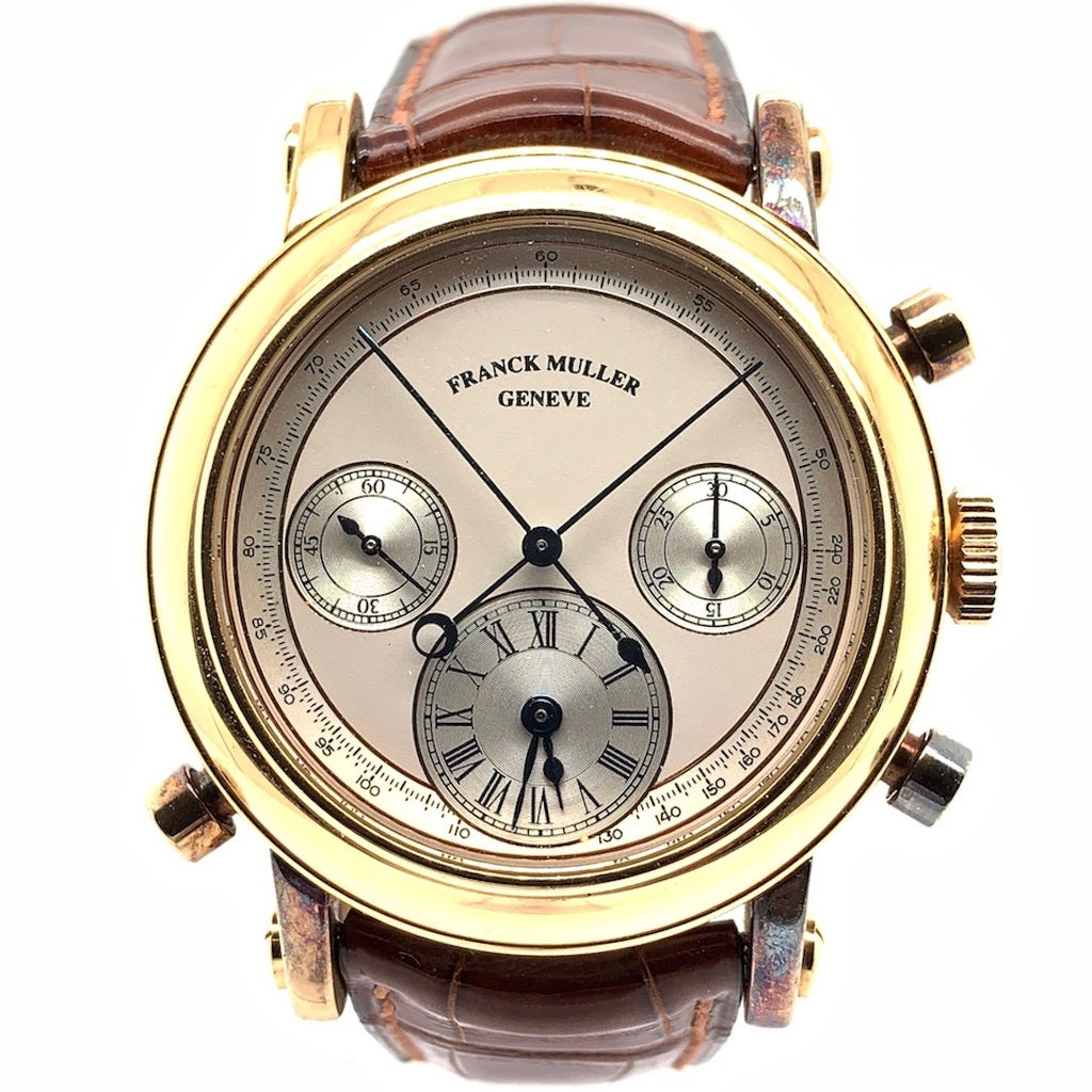 Franck Muller Double Face Chronograph Rattrapante 18K Yellow Gold