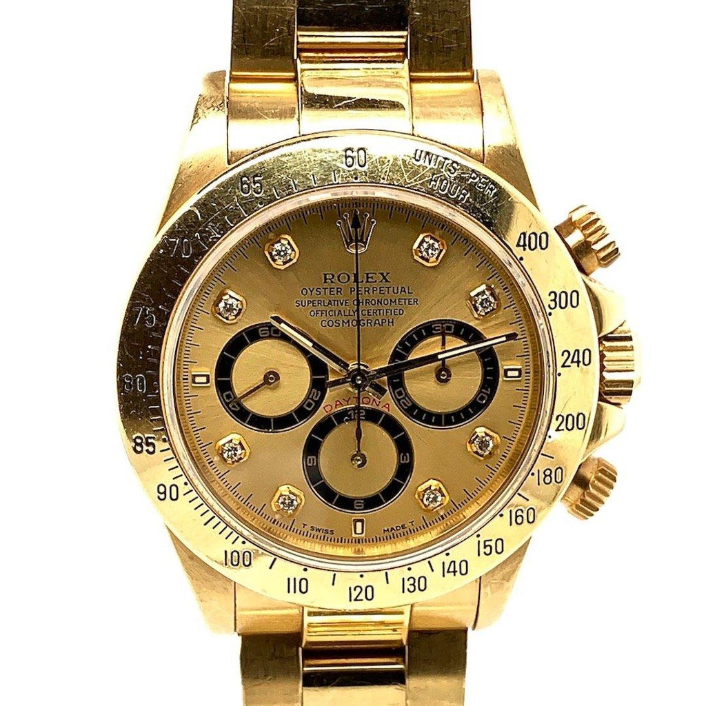 "Rolex Oyster Perpetual Cosmograph Daytona ""Zenith El Primero"" Champagne Dial With Diamond Markers 18K Yellow Gold Ref. 16528"
