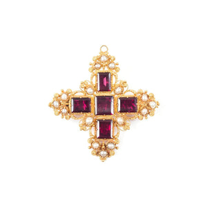 15K Yellow Gold and Garnet Cannetille Necklace ca 1830s-40s - Twain Time, Inc.