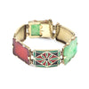 Art Deco Jade, Carnelian Tablets & Cloisonné Enamel Bracelet 14K Yellow Gold - Twain Time, Inc.