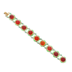 Art Deco Cabochon Red Carnelian, Green Enamel and Jade Bracelet 14K Yellow Gold - Twain Time, Inc.