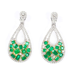 Colombian Emerald and Diamond Drop Earrings 18K White and Yellow Gold - Twain Time, Inc.