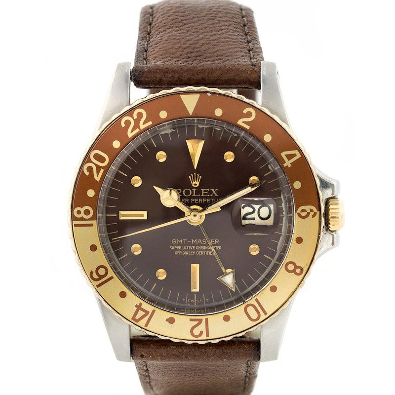 Rolex GMT-Master Tiger Eye/Nipple Dial Root Beer - Two Tone - Twain Time, Inc.